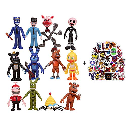 Five Nights at Freddy's Action Figures Set of 12 pcs Toys Gifts Cake Toppers, 4 inches with 50 PCS Waterproof Stickers…
