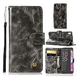 Dmtrab Phone Case pour pour Le boîtier de Portefeuille de Sony Xperia L1, Bouton de cuivre rétro...
