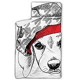 Doreen DaltonKids Saco de Dormir Retrato para Cachorros Beagle Beret Sombrero Nap Mat con Almohada para niños y niñas, Classic Slumberbag Tamaño guardería y pre