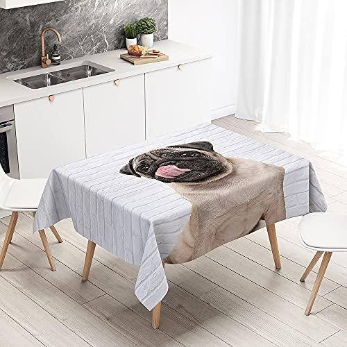 Oduo Mantel Impermeable Antimanchas Tela de Poliéster, Estampado 3D Pug Mantel Decoración Resistente Al Desgaste Lavable, Distintos Diseños y Tamaños a Elegir (Azulejos de Pared Blancos,90x90cm)
