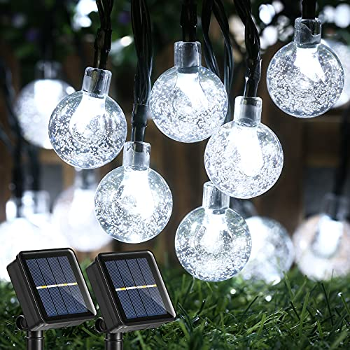 Joomer Solar String Lights Outdoor, Upgraded 2 Pack 30 LED 20ft Crystal Globe Lights with 8 Lighting Modes, Waterproof Solar Powered Patio Lights for Outdoor Garden Yard Porch Party Home Decor (White)