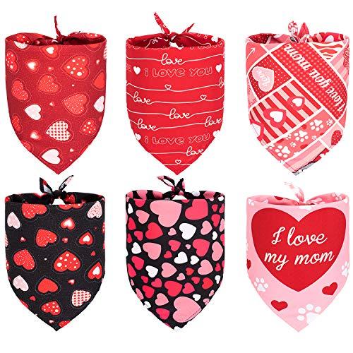 6pcs Valentine's Day Dog Bandanas