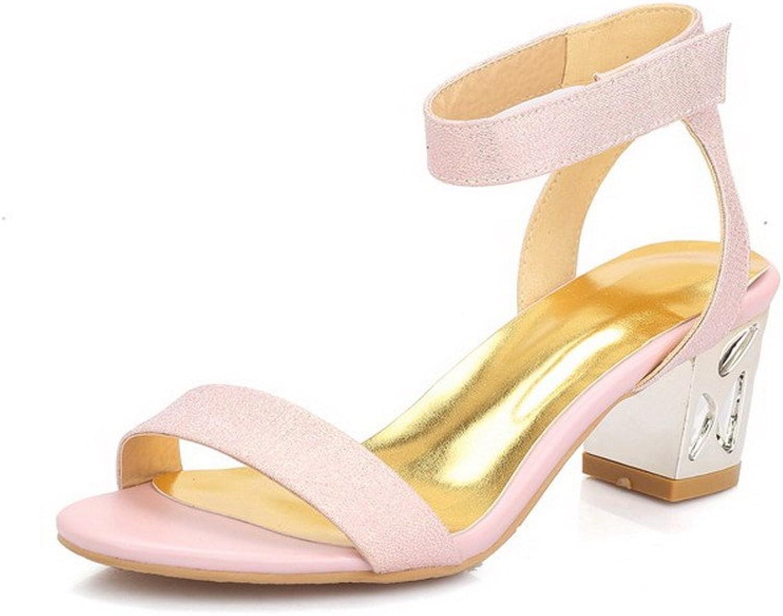 AmoonyFashion Women's Open Toe Kitten Heels Hook and Loop Solid Sandals