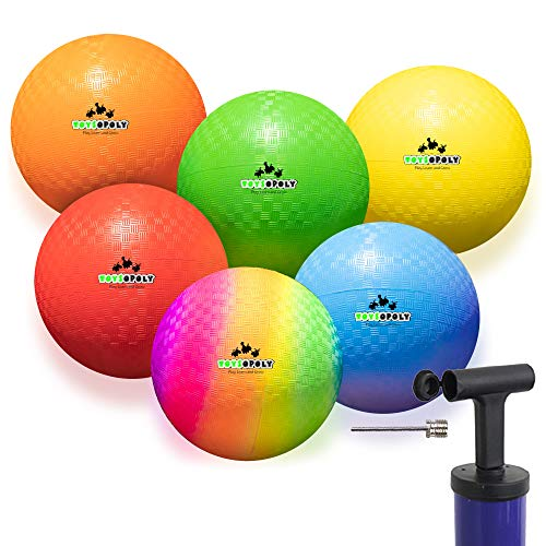 Inflatable Dodgeball (Set of 6) - Official 7 Inch Balls + Soft Skin Rubber Give No Sting and Hurt. Best Hand Ball for Boys Girls Kids and Adults - Includes Ball Pump & Mesh Bag