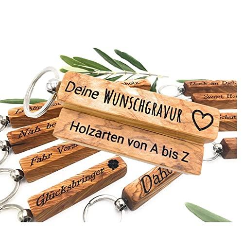Schlüsselanhänger mit Gravur | Edelholz | Personalisierbar mit Wunschgravur & Symbolen | Geburtstag | Geschenk