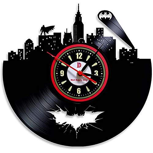 BBZZ Wandklok Hot vinyl evolutie batman arkham stad logo wandklok versieren uw huis met moderne, grote superhelden, kunst cadeau voor vrienden, mannen en jongens