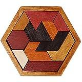 WONZOM 積み木 パズル11ピース 六角形 知育 玩具 幼児 子供 教育 教材 木のおもちゃ ブロック パズル 木製 はめこみ