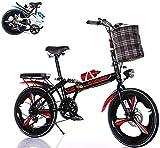 Bicicleta Plegable de 6 velocidades Variables Foldable Bicycle con Marco de Acero de Alto Carbono de 20 Pulgadas Adecuado para Bicicletas de Ciudad para Adultos Mujeres Hombres y jóvenes/Rojo