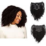 Anrosa Afro Kinky Coily Clip in Hair Extensions Thick Human Hair Extensions Natural Black Hair Color 1B Kinkys Curly Real Virgin Remy Hair 4A 4C Type for African American Black Women 16 Inch 120 Gram