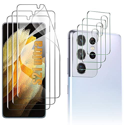 Luibor Schutzfolie kompatibel mit Samsung Galaxy S21 Ultra (6 Stück), 3 Schutzfolie und 3 Kamera Schutzfolie, Weich TPU Schutzfolie kompatibel mit Samsung Galaxy S21 Ultra 5G
