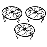 Iron Potted Plant Stand, 10 inch Wide, Black, 3-Pack, Powder Coated Rust Resistant Metal, Decorative Indoor \ Outdoor Flower Pot Holder Saucer, Round Heavy Garden Planter Support Rack