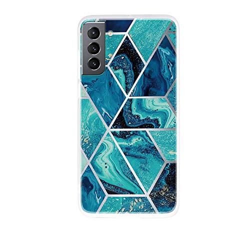 ChoosEU Compatible con Funda Samsung Galaxy S21 Plus 5G Silicona TPU Case Antigolpes Bumper Cover Caso Protección, Dibujos Mármol Creativa Carcasas para Chicas Mujer Hombre - Azul