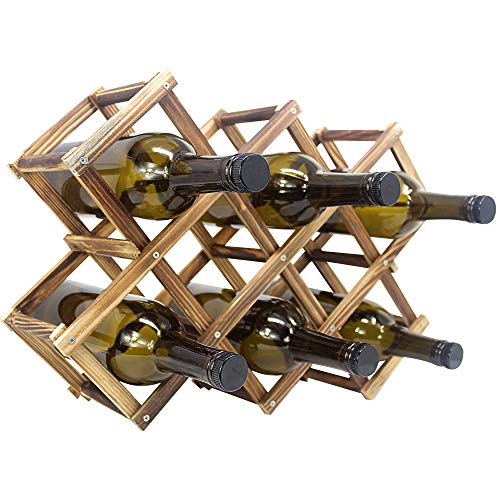 Foldable Wooden Wine Bottle Holder - Natural Wine Rack with 8 Slots - Wine Bottle Rack & Storage -...