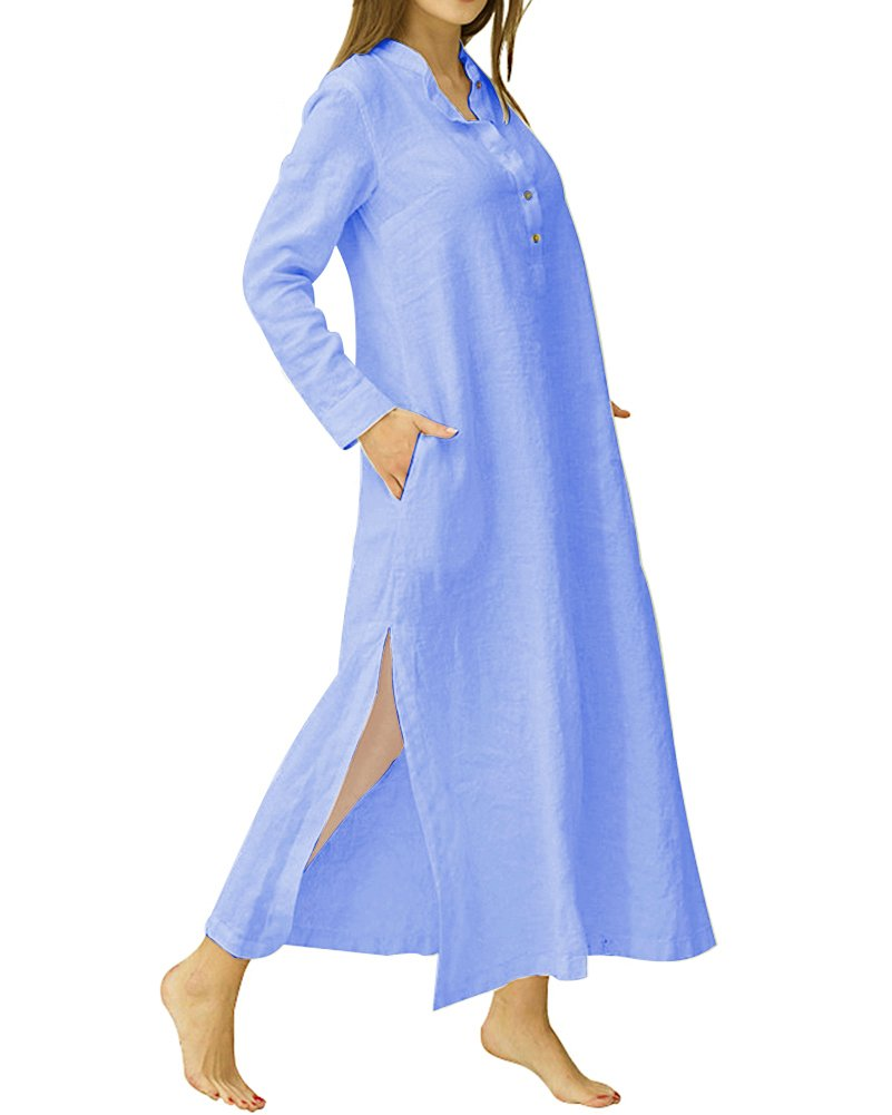 Available at Amazon: HIUPEB Women's Plus Size Long Sleeve Cotton Linen Split Kaftan Maxi Dress S-3XL