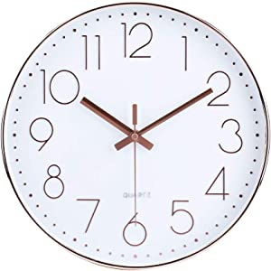 14 Inch Modern Wall Clock Silent Non-Ticking Quartz Sweep Decorative Battery Operated Wall Clocks for Home Living Room Bathroom School (Rose Gold)