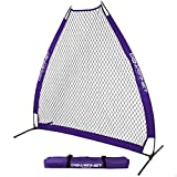 PowerNet German Marquez 7 Foot Portable Pitching Screen A-Frame (Purple) | Baseball Pitcher Protection | Protector from Line Drives Grounders | Heavy Duty Knotted Netting | BP Net