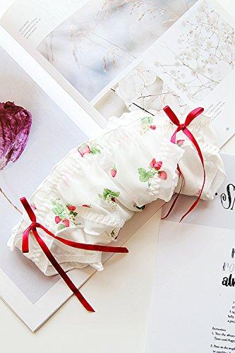 TOMORI Womens Cute Strawberry Panties Lolita Floral Underwear Bowknot Cotton Panties for Girls