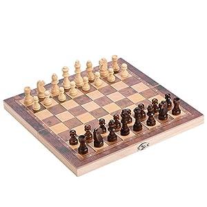 Dilwe Holz Travel Chess Board, 3in 1Qualität Tragbare Faltbar Schachbrett mit Bequemer Schachfiguren für Familie Outdoor Schach Spiel, 29 * 29cm