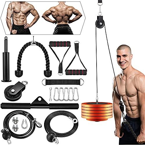 Outify 18-teiliges Fitness-Seilzug-Kabelsystem,DIY Latzug Arm-Krafttraining Seilzug Fitness Riemenscheibe Kabelmaschine für Frauen Männer LAT Bar, Fitness, Heimtrainingsgeräte