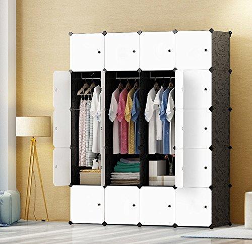 JOISCOPE Abstellschrank, Schlafzimmer Tragbare Schrank, Modularer Kunststoffschrank Mit Schiene, Weiß und Schwarz(20 Kubik)