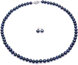 JYX Pearl Necklace Set AA 7-8mm Natural Freshwater Cultured Pearl Necklace and Earrings Set