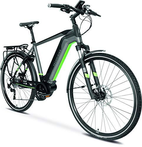TechniBike TREKKING Herren E-Bike (Pedelec, Elektrofahrrad, Trekkingbike, 600Wh Continental Akku, Continental 48V 250 Watt 70 Nm Motor, Rahmenhöhe 58 cm) schwarz/grau/grün