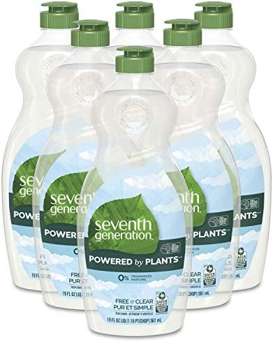 Seventh Generation Dish Liquid Soap, Free & Clear, 25 Oz, Pack of 6
