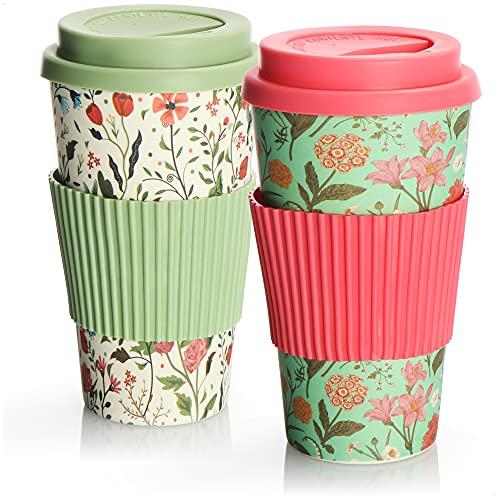 com-four® 2X Coffee to go Becher aus Bambus - Kaffeebecher to go - Kaffee to go - wiederverwendbarer Trinkbecher - Reisebecher mit Deckel - 425 ml (02 Stück - pink-grün/grün-weiß)