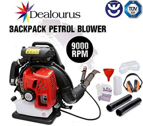 Dealourus 2019 75cc Petrol Backpack Leaf Blower, Extremely Powerful - 240MPH Lightweight With New and Improved Padded Support Straps For Maximum Comfortability