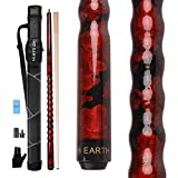 AB Earth Ergonomic Design 13mm Tip 58' Maple Pool Cue Stick Kit with Hard Case (Red, 19oz)