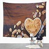 Y·JIANG Tapiz vintage de madera, manteca de maní, color marrón, gris pálido, decoración de dormitorio del hogar, tapices grandes, manta para colgar en la pared, 152 x 127 cm