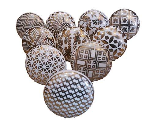 Pushpacrafts Xfer 002 - Confezione da 10 pomelli in stile vintage con motivi floreali misti, colore bianco crema, in ceramica, per maniglie di porte, armadi, cassetti e credenze