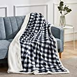 BEAUTEX Sherpa Fleece Throw Blanket, Super Soft Warm Buffalo Plaid Plush Blankets and Throws, Lightweight Cozy Fuzzy Blanket for Couch Sofa Bed (Black, Throw 50' x 60')