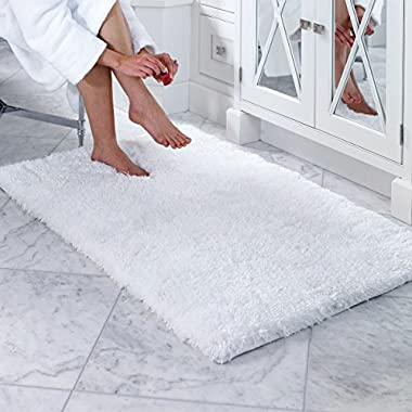 Norcho Soft Microfiber Non-slip Rubber Luxury Area Rug for Livingroom Bedroom Bathroom Decor Machine Washable 2.6 x 3.9ft/80 x 120cm White
