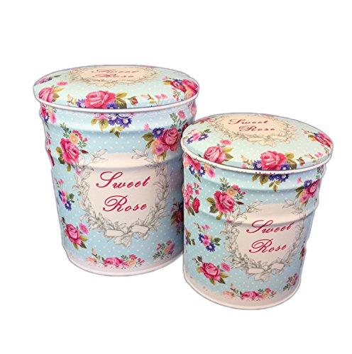 DiiliHiiri Lot de 2 poufs de rangement vintage avec assise rembourrée en métal Motif fleurs vintage