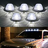 LED Cab Lights Marker Top Roof Running Light 5PC Smoked Len White 5LED Bulbs Aftermarket Replacement for Fo-rd F150 F250 F350 F450 F550 Dod-ge Ram SUV Truck 4X4 Jeep ATV Offroad (Top Roof DK008)