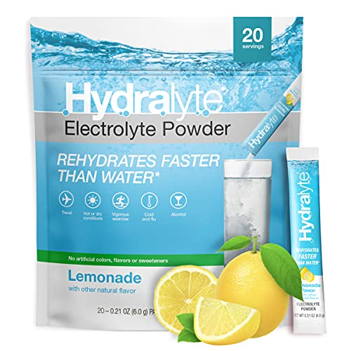 Hydralyte All-Natural Electrolyte Hydration Powder Sticks, Instant Dissolve ORSDrink Mix, Lemonade, 20 Count