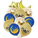 LFONCE 11 Piezas Eid Mubarak Decoración Estrella Luna Dorada 3 Globos Globos látex y película Aluminio para el Festival Decoraciones navideñas Fiesta celebración Ramadán