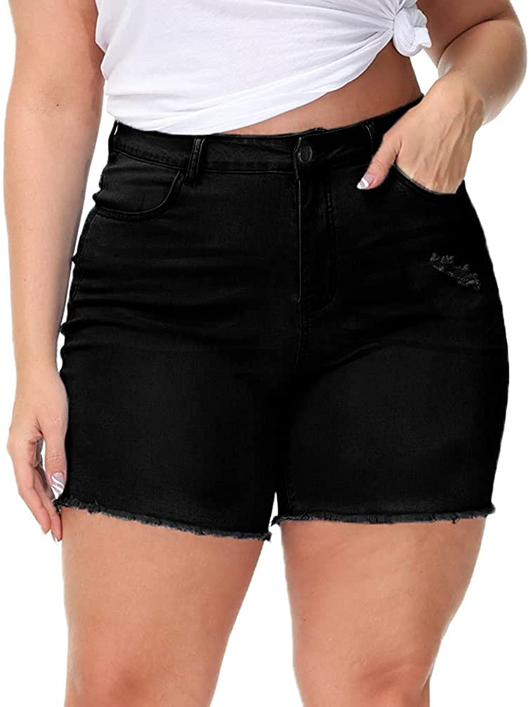 Gboomo Womens Plus Size Denim Shorts High Waisted Stretchy Raw Hem Jean Shorts with Pockets