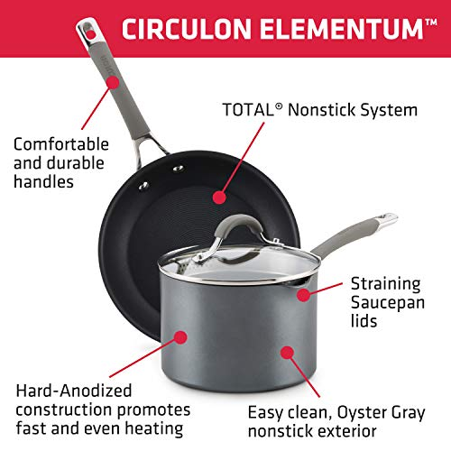 Circulon Elementum Hard Anodized Nonstick Cookware Pots and Pans Set, 10 Piece, Oyster Gray