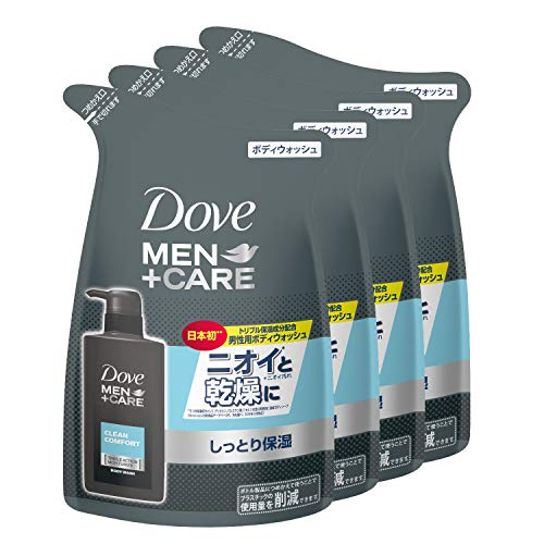 Dove(ダヴ) Dove MEN(ダヴメン) +ケア ボディウォッシュ クリーンコンフォート 詰替え用 320g×4 おまけ付き ボディーソープ ボディソープ 清潔感のあるシトラスフローラルの香り。