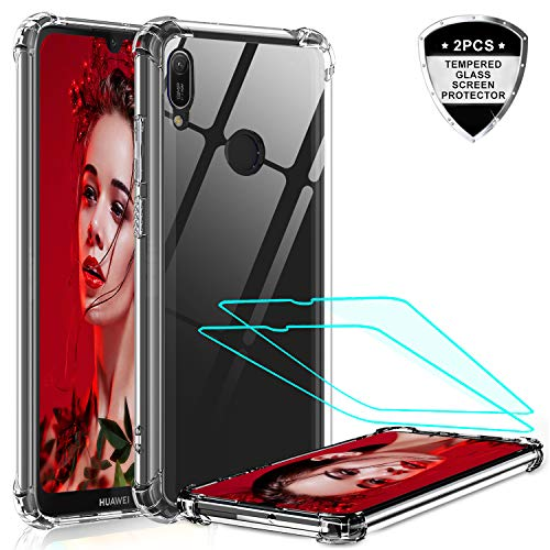 LeYi für Huawei Y6 2019/Honor 8A Hülle mit Panzerglas Schutzfolie (2 Stück), Neu Transparent Cover Hard Air Cushion Bumper Schutzhülle Handy Hüllen für Hülle Huawei Y6 2019 Handyhülle Crystal Clear