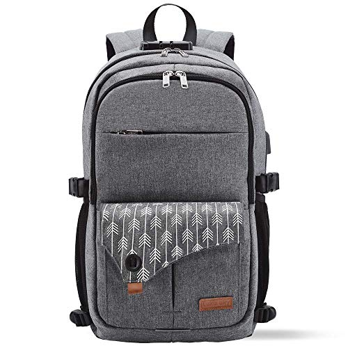Lekesky Laptop Rucksack Anti-Theft Laptop Backpack Fits 15.6 Inch Laptop Travel Bag with USB Charging Port for Secondary/College/Women/Men- Arrow Print Grey
