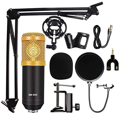 Cabriza K45 Professional Condenser BM-800 Microphone Kit with Scissor Stand Sound Card Pop Filter XLR Cable Foam Cap and Shock Mount (Multi)