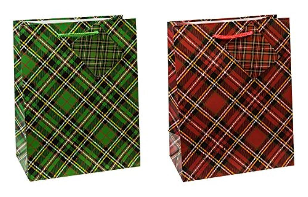 TSI 87012 Gift Bags Tartan, Pack of 12, Size: Medium (9 x 7 x 4 inch)