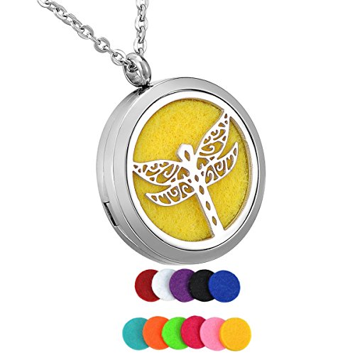 """HooAMI Essential Oil Diffuser Necklace Aromatherapy Jewelry Gift Set - 316L Stainless Steel Dragonfly Locket Pendant,24"""" Chain and 12 Refill Pads"""