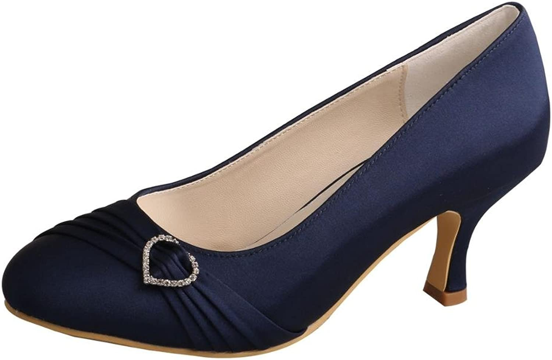 Wedopus MW835 Women Pumps Closed Toe Heels Rhinestone Prom Spool Heels Satin Wedding Party shoes