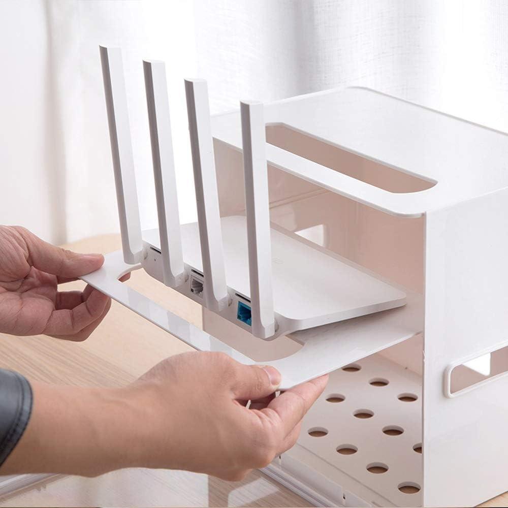 Color : Black Socket Wire Storage Box WiFi Router Box Desktop Power Cord Finishing Row Plug line Box LB831111LL