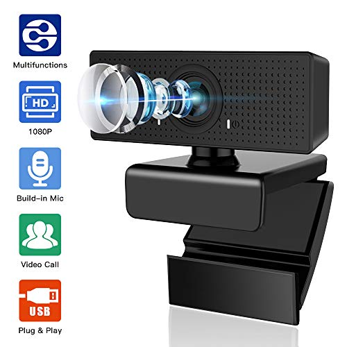 Webcam with Microphone, Admitrack 1080P HD Webcam Streaming Computer Web Camera with 110 Wide View Angle - USB Computer Camera for PC Laptop Desktop Video Calling Recording, Conferencing (Black)