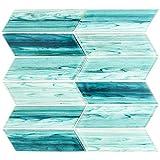 Tara Turquoise 4 in. x 8 in. Chevron Glass Mosaic Tile Sample